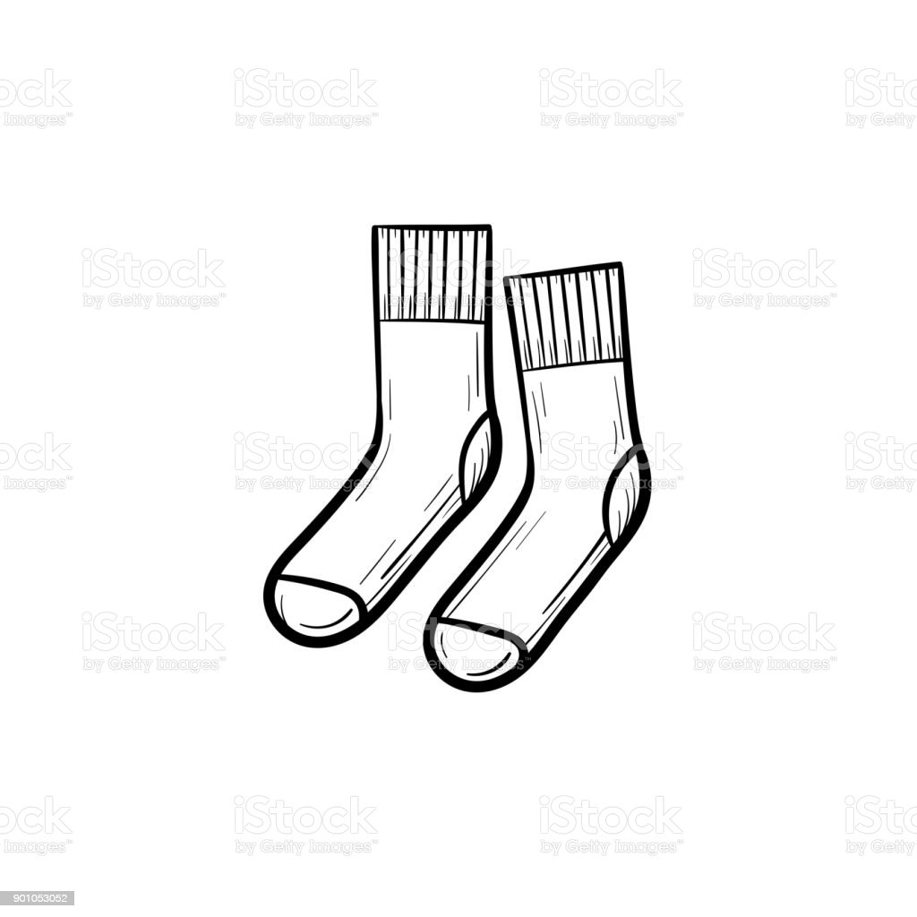Socks hand drawn sketch icon vector art illustration