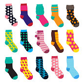 Socks in cartoon style. Elements of kids clothes. Vector illustrations isolate