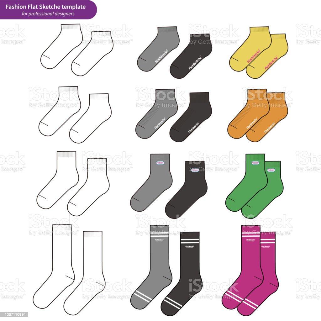 Socks Set Fashion Flat Sketche Vector Template Stock