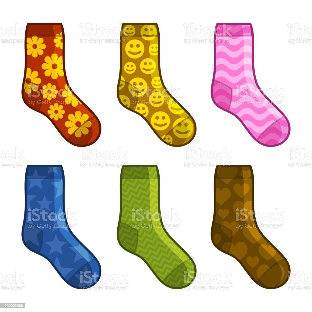 Socks Set with Different Color Patterns. Vector socks set with different color patterns vector - stockowe grafiki wektorowe i więcej obrazów bez ludzi royalty-free