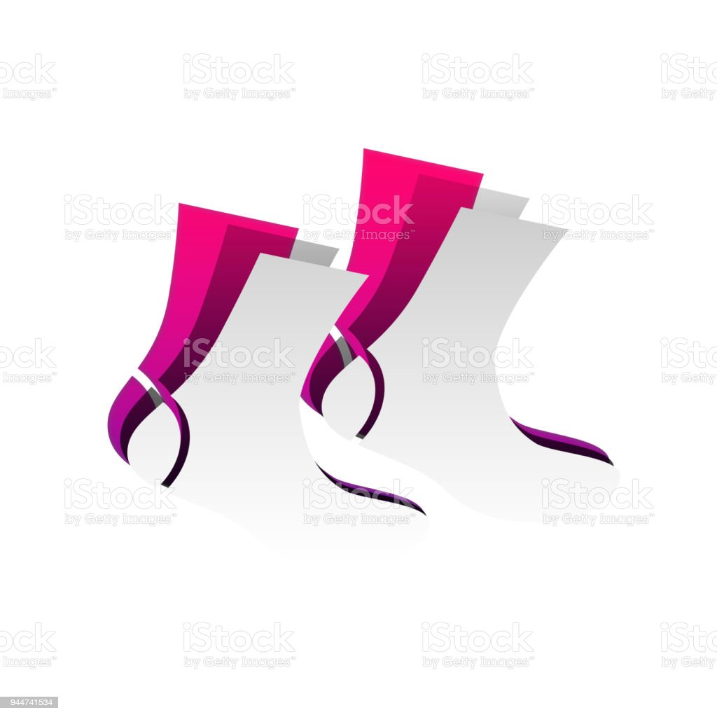 Socks sign. Vector. Detachable paper with shadow at underlying l vector art illustration