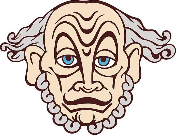 socrates mask - old man mask stock illustrations, clip art, cartoons, & icons