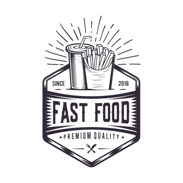 soda and french fries fast food retro badge logo. emblem illustration - food delivery stock illustrations