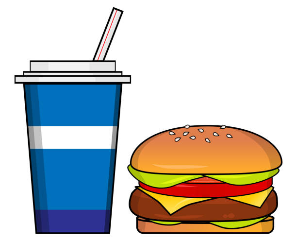Soda and Hamburger vector art illustration