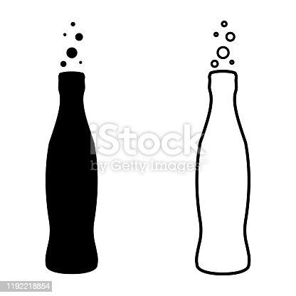 Soda bottle drink Cola icon, vector outline silhouette soda bottle drink Cola icon
