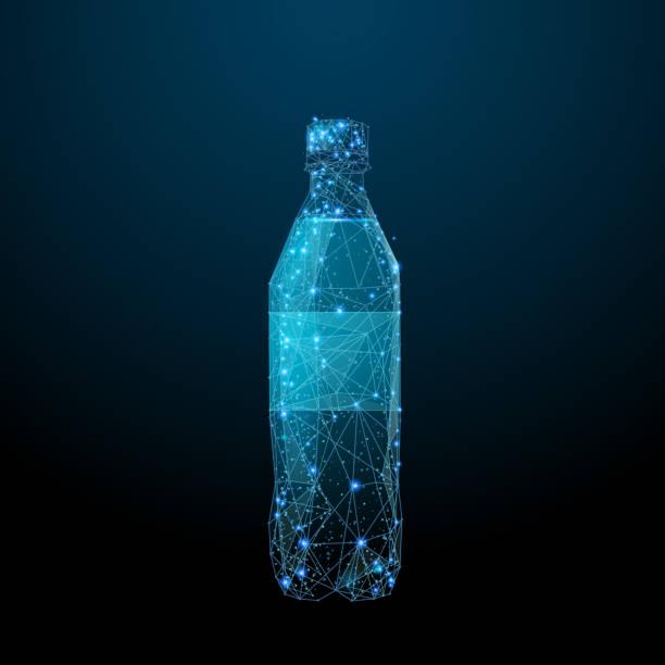 soda flasche low-poly blau - hochschulgetränke stock-grafiken, -clipart, -cartoons und -symbole