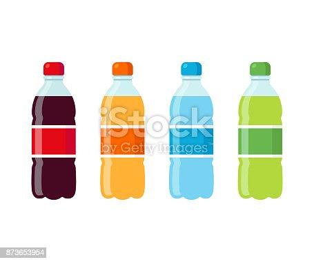 Plastic beverage bottles icon set. Cola, orange soda, water and green iced tea. Bottled cold drinks flat vector illustration.