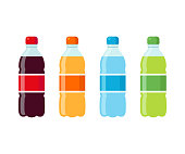 Plastic beverage bottles icon set. Cola, orange soda, water and green iced tea. Bottled cold drinks flat vector illustration.