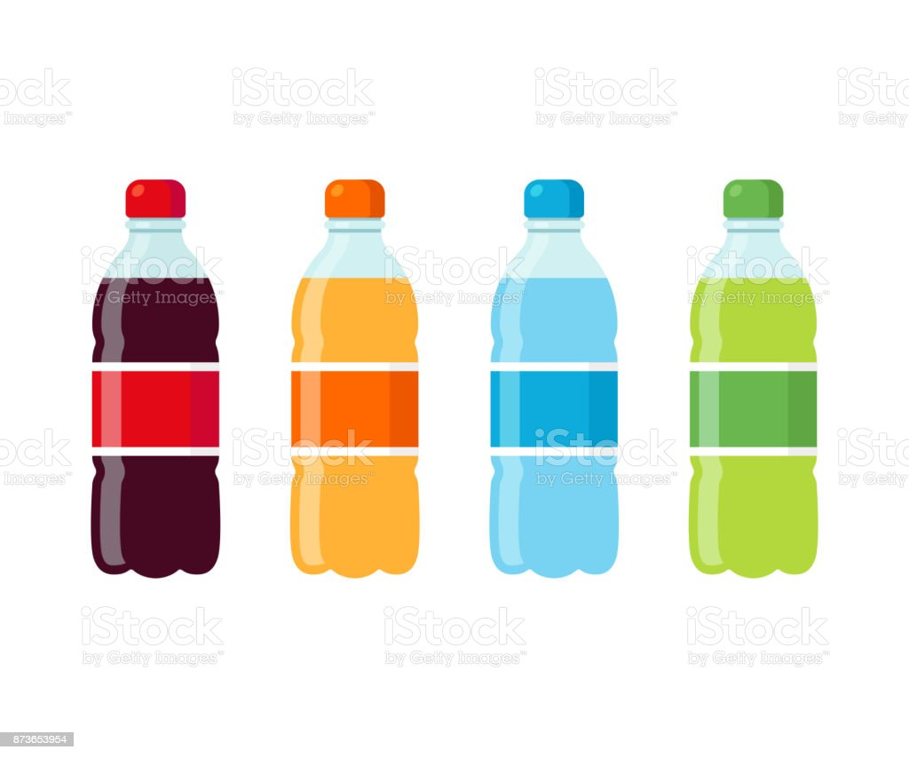 Conjunto de ícones de garrafas de refrigerante - ilustração de arte em vetor