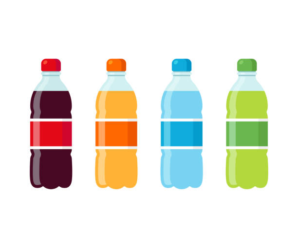 Soda bottles icon set Plastic beverage bottles icon set. Cola, orange soda, water and green iced tea. Bottled cold drinks flat vector illustration. bottle stock illustrations