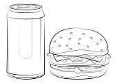 vector illustration of soda can and hamburger