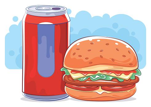 soda can and hamburger