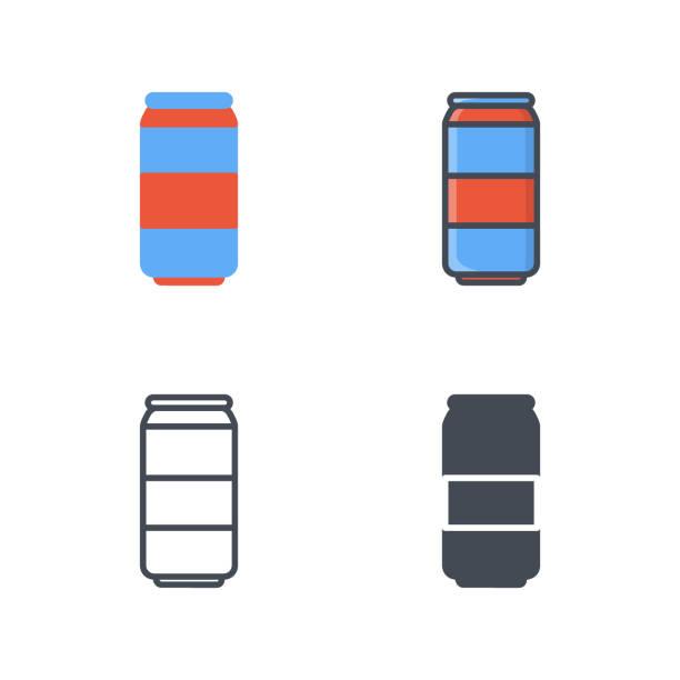 soda trinken kann symbol vektor farbige flache linie - lachskuchen stock-grafiken, -clipart, -cartoons und -symbole