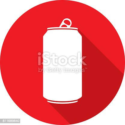 Vector illustration of a red soda can icon in flat style.