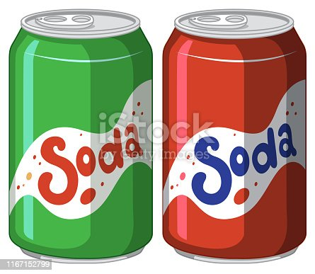 Soda can in aluminium on white illustration