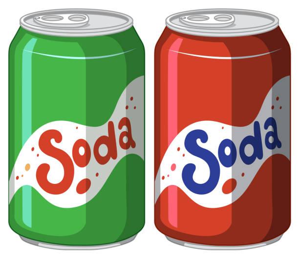 stockillustraties, clipart, cartoons en iconen met soda kan in aluminium op wit - cola