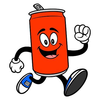 Soda Can Mascot Running