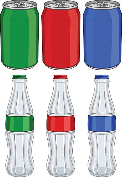 Soda Cola Aluminium Cans Glass Bottles Three Colors vector art illustration