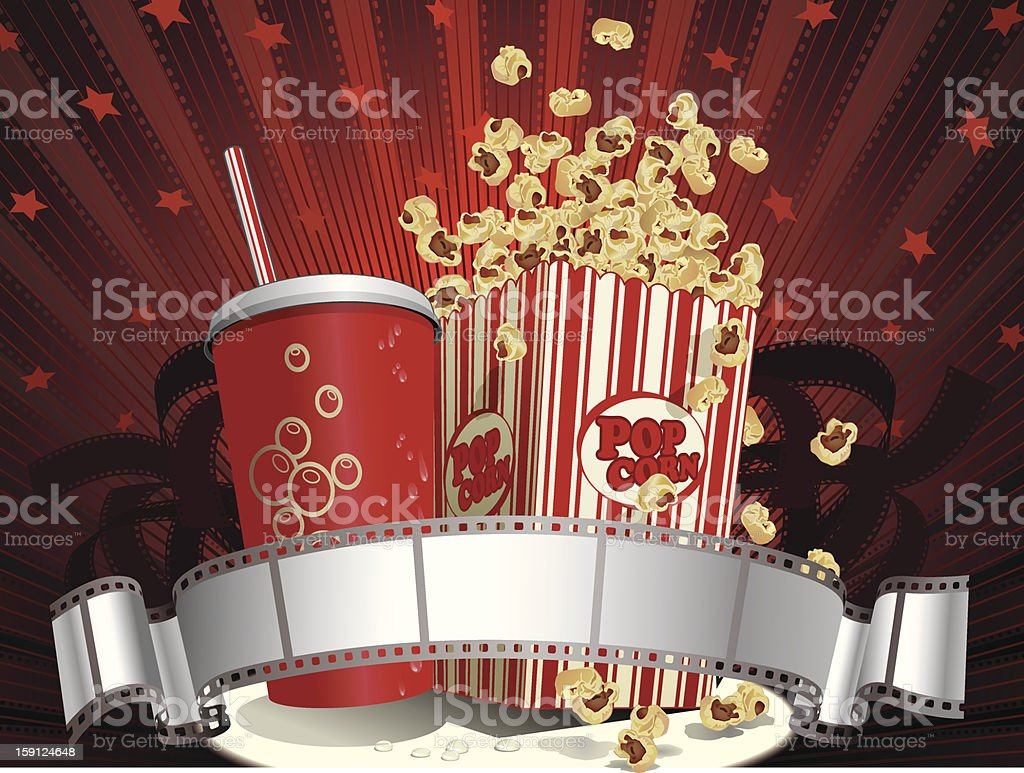 Soda Cup, Popcorn and Filmstrip Vector royalty-free stock vector art