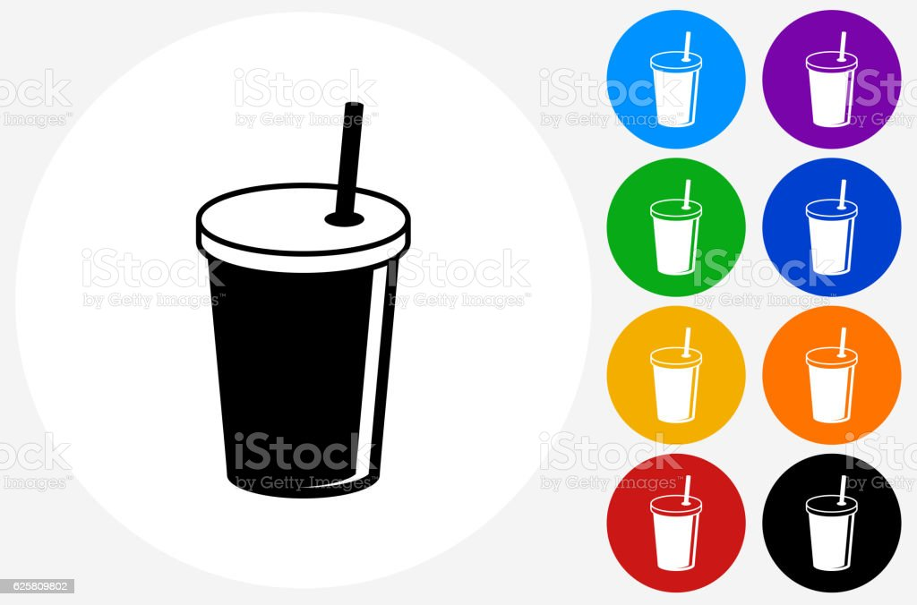 Soda Drink Icon on Flat Color Circle Buttons vector art illustration