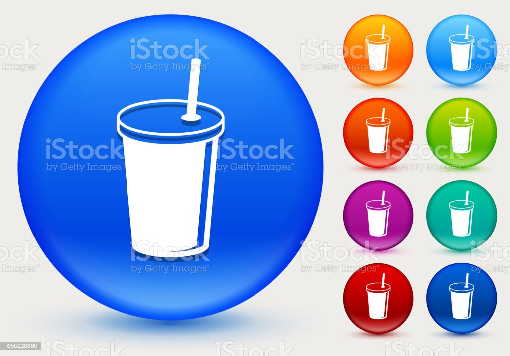 Soda Drink Icon on Shiny Color Circle Buttons vector art illustration