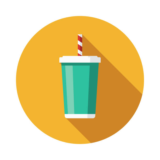 Soda Flat Design Summer Icon with Side Shadow vector art illustration