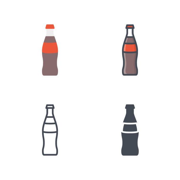 natron glas cola trinken symbol vektor farbige flache linie - lachskuchen stock-grafiken, -clipart, -cartoons und -symbole
