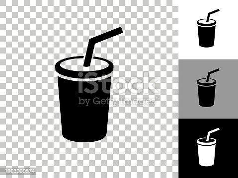 istock Soda Icon on Checkerboard Transparent Background 1263000874
