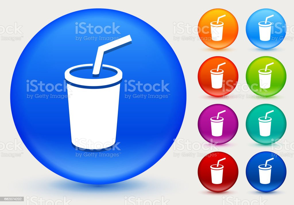 Soda Icon on Shiny Color Circle Buttons vector art illustration