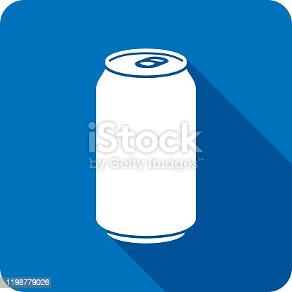 Vector illustration of a blue soda can icon in flat style.