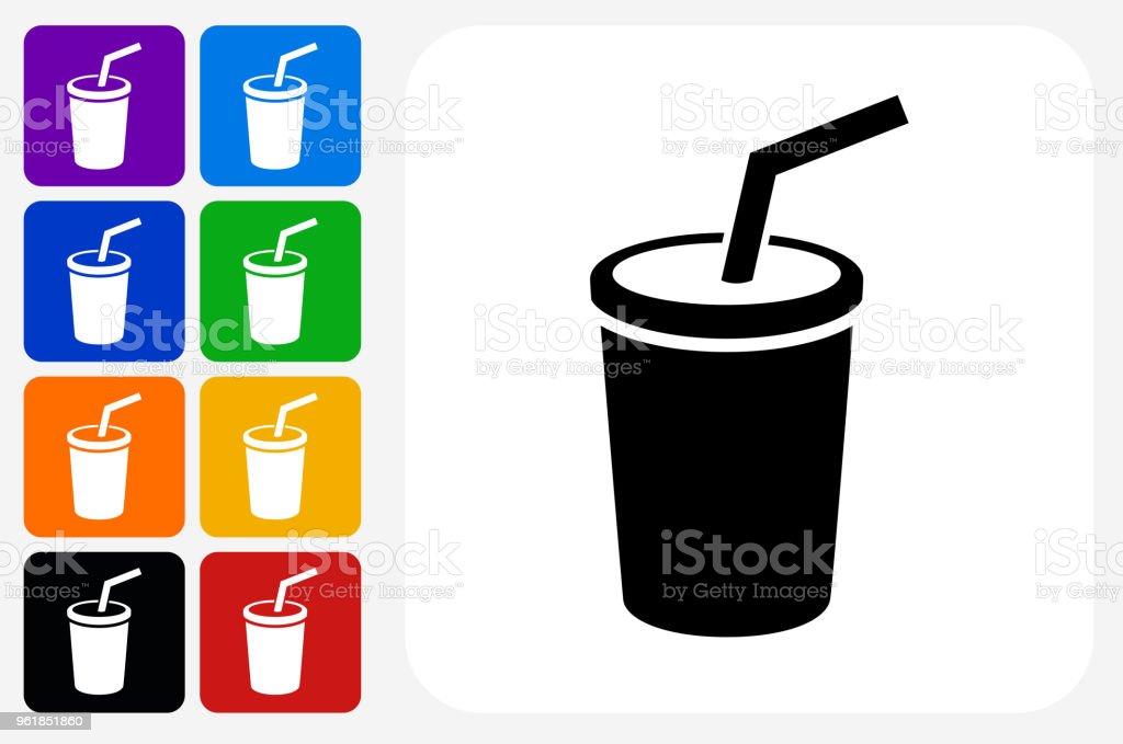 Soda-Symbol Square Buttonset – Vektorgrafik
