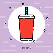 Soda Open Outline Street Food Icon