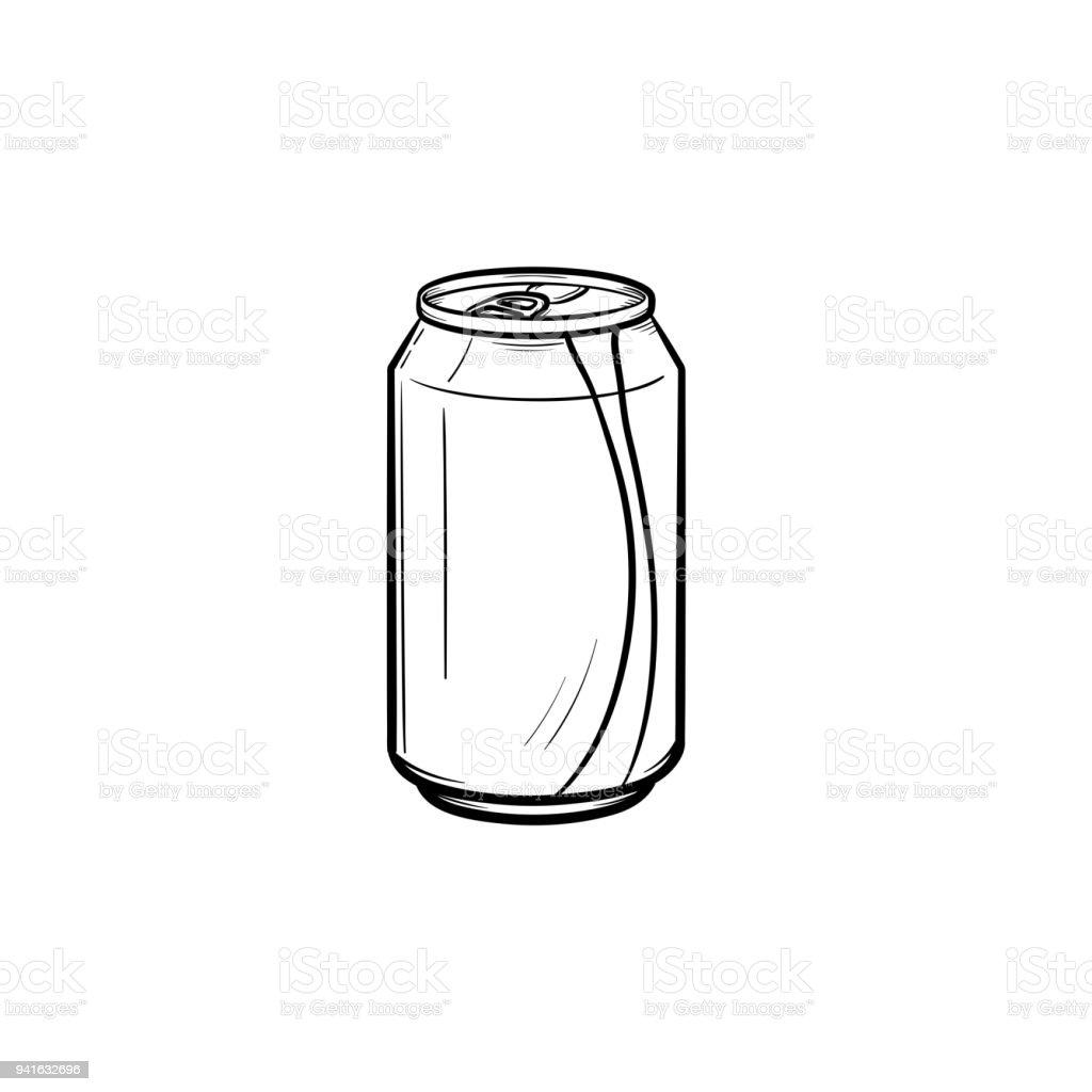 Frisdrank kan hand getrokken schets pictogramvectorkunst illustratie
