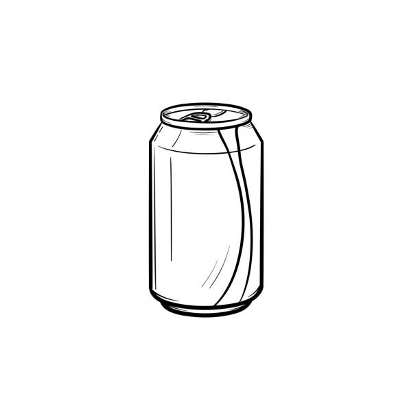 Soda pop can hand drawn sketch icon vector art illustration