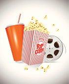 Soda Popcorn Film Reel Movie Entertainment Illustration Art