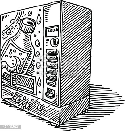 Hand-drawn vector drawing of a Soda Vending Machine. Black-and-White sketch on a transparent background (.eps-file). Included files are EPS (v10) and Hi-Res JPG.