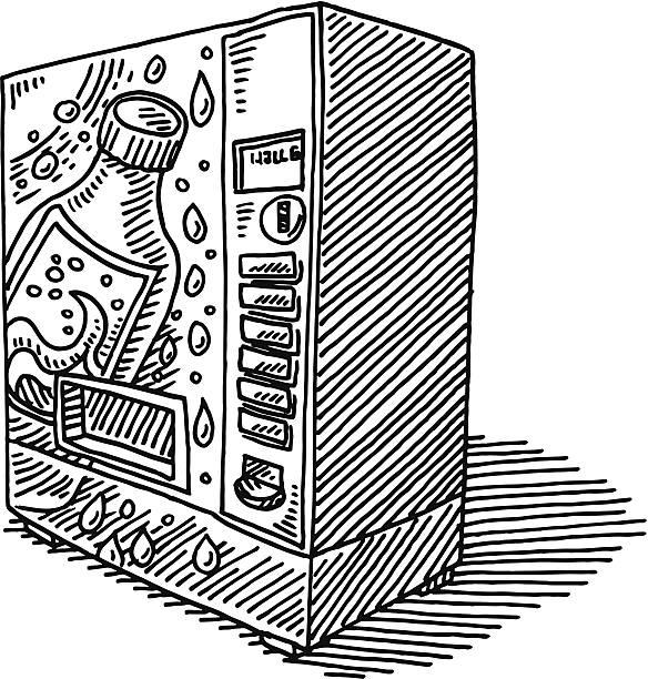 soda vending machine drawing - empty vending machine stock illustrations