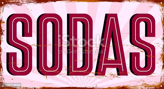 Sodas. Vintage metal sign. Grunge style