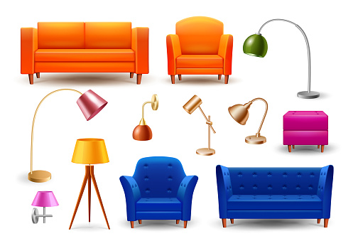 Sofa and Armchair, Pendant Lamps, Table Lamps, Floor Lamps, Lightings