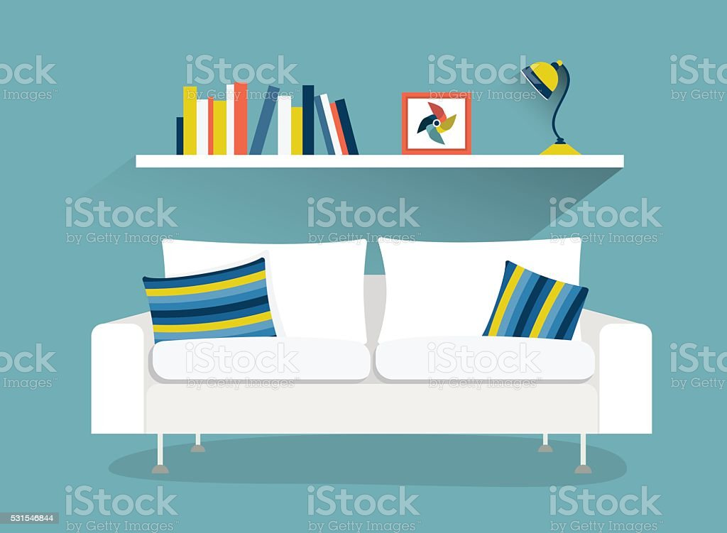 Sofa And Book Shelf With Lamp Flat Design Vector Illustration Royalty Free