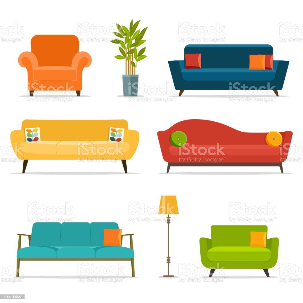 Bank en stoel sets en woonaccessoires. Platte vectorillustratie - Royalty-free Appartement vectorkunst
