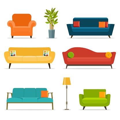 Sofa And Chair Sets And Home Accessoriesvector Flat Illustration - Arte vetorial de stock e mais imagens de Aconchegante