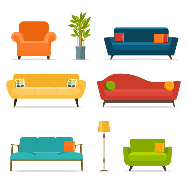 ilustrações de stock, clip art, desenhos animados e ícones de sofa and chair sets and home accessories.vector flat illustration - chair