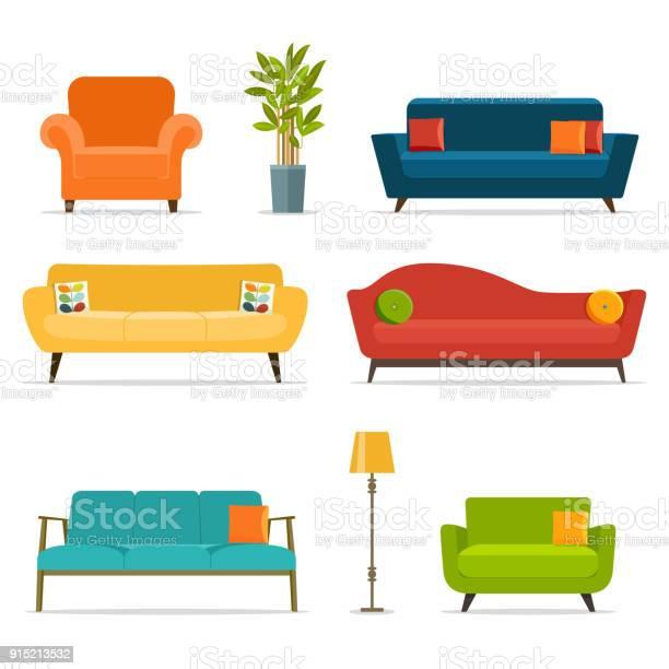 Bank En Stoel Sets En Woonaccessoires Platte Vectorillustratie Stockvectorkunst en meer beelden van Appartement