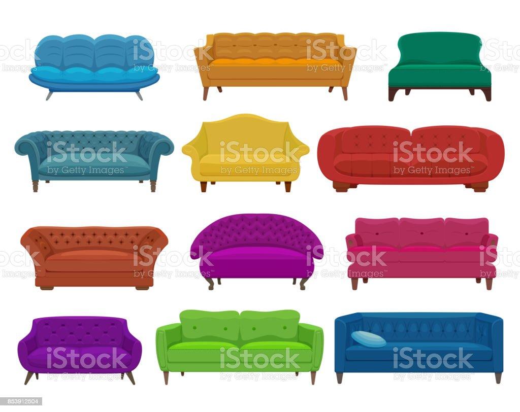 Sillones Coloridos.Ilustracion De Sofa Y Sillones Coloridos Dibujos Animados