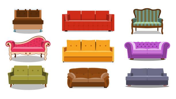sofa und sofas bunte cartoon-illustration vektor-set. kollektion von komfortablen lounge für innenarchitektur isoliert auf weißem hintergrund. verschiedene modelle von settee-symbolen. eps - stuhllehnen stock-grafiken, -clipart, -cartoons und -symbole