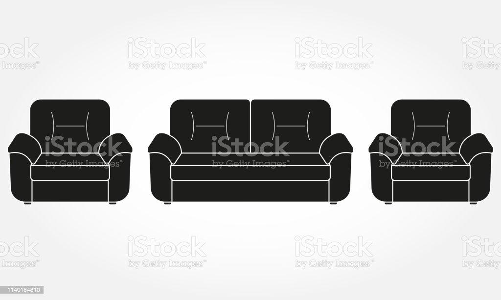 Sofa Und Sofas Möbelikonen Für Wohnzimmer Vector Illustration Stock ...