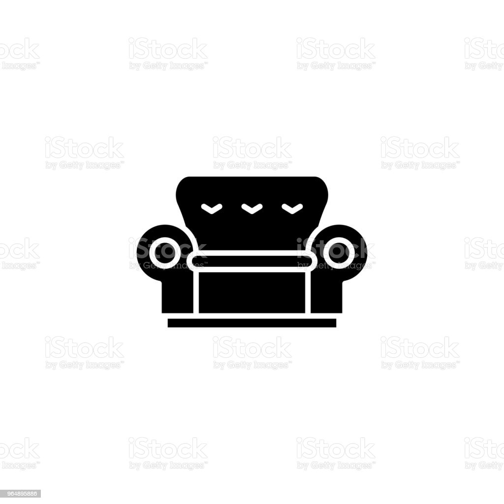 Sofa black icon concept. Sofa flat  vector symbol, sign, illustration. royalty-free sofa black icon concept sofa flat vector symbol sign illustration stock vector art & more images of armchair