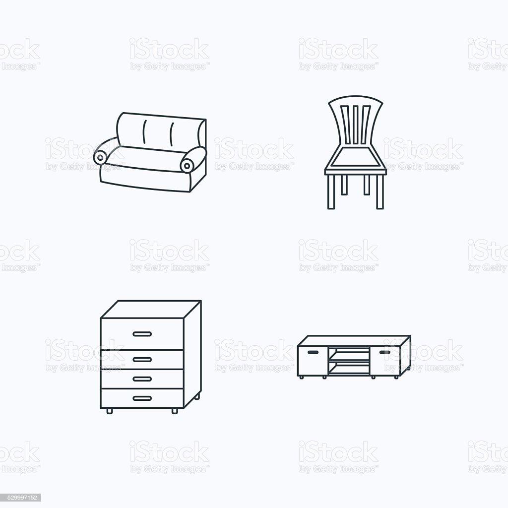 Sofa Polstersessel Und Eine Kommode Mit Schubladen Symbole Stock