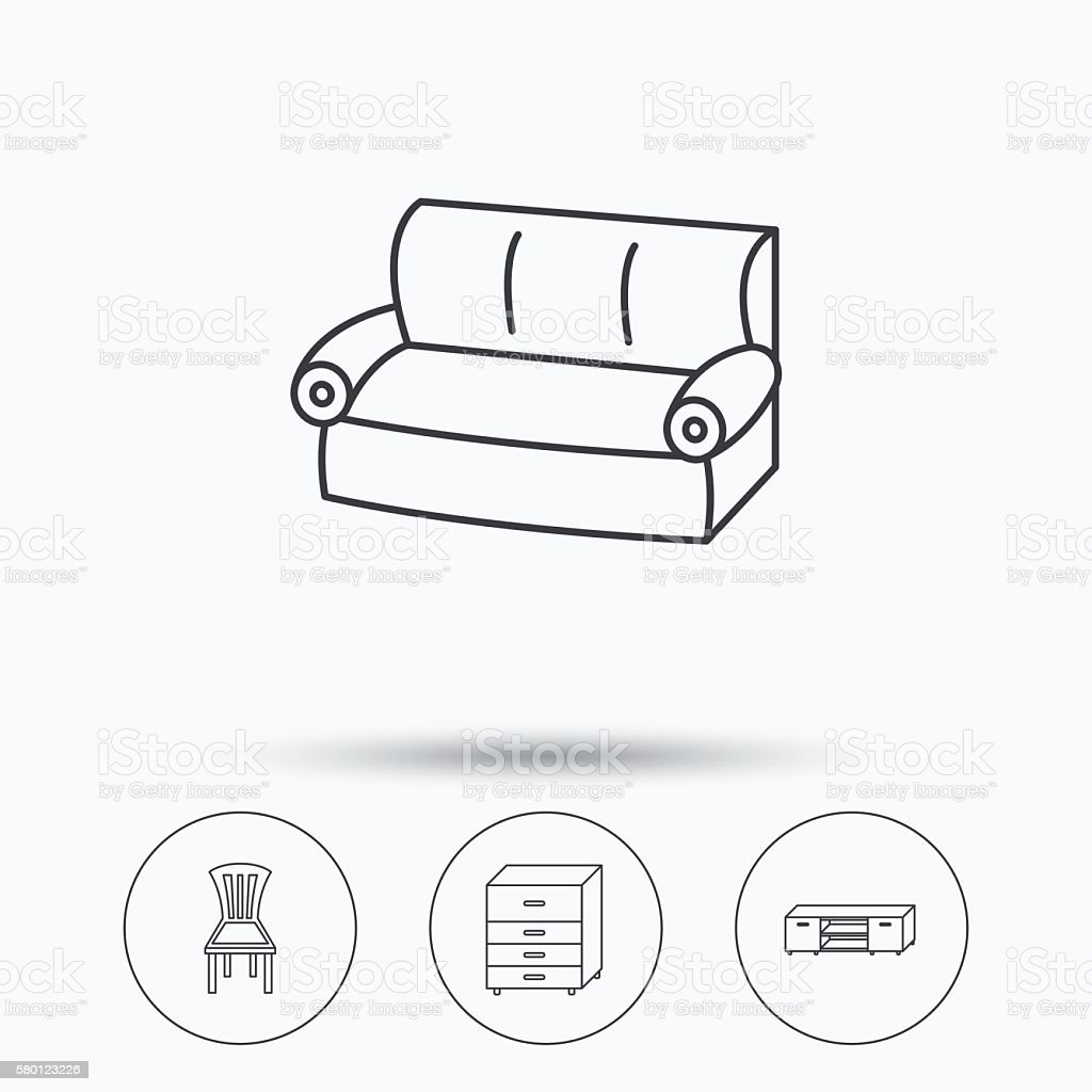 Awesome Sofa Chair And Chest Of Drawers Icons Stock Illustration Squirreltailoven Fun Painted Chair Ideas Images Squirreltailovenorg